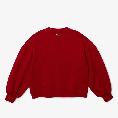 Girls' Puff Sleeved Embroidered Cotton Fleece Sweatshirt