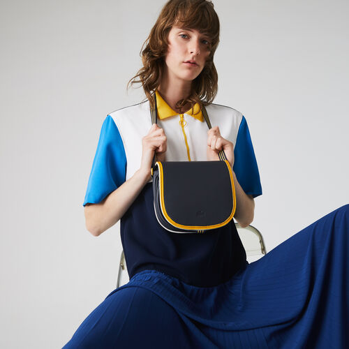 Women's Court Line Contrast Piping Small Hobo Bag