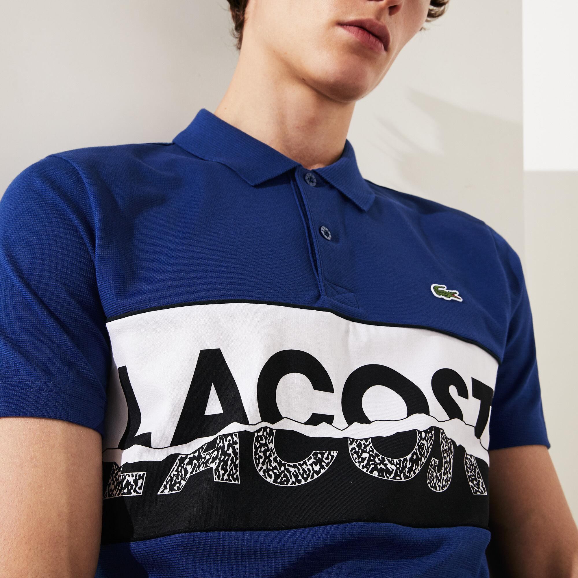 قميص بولو قطني فائق الخفة مزدان بطبعة غرافيك من مجموعة Lacoste SPORT للرجال