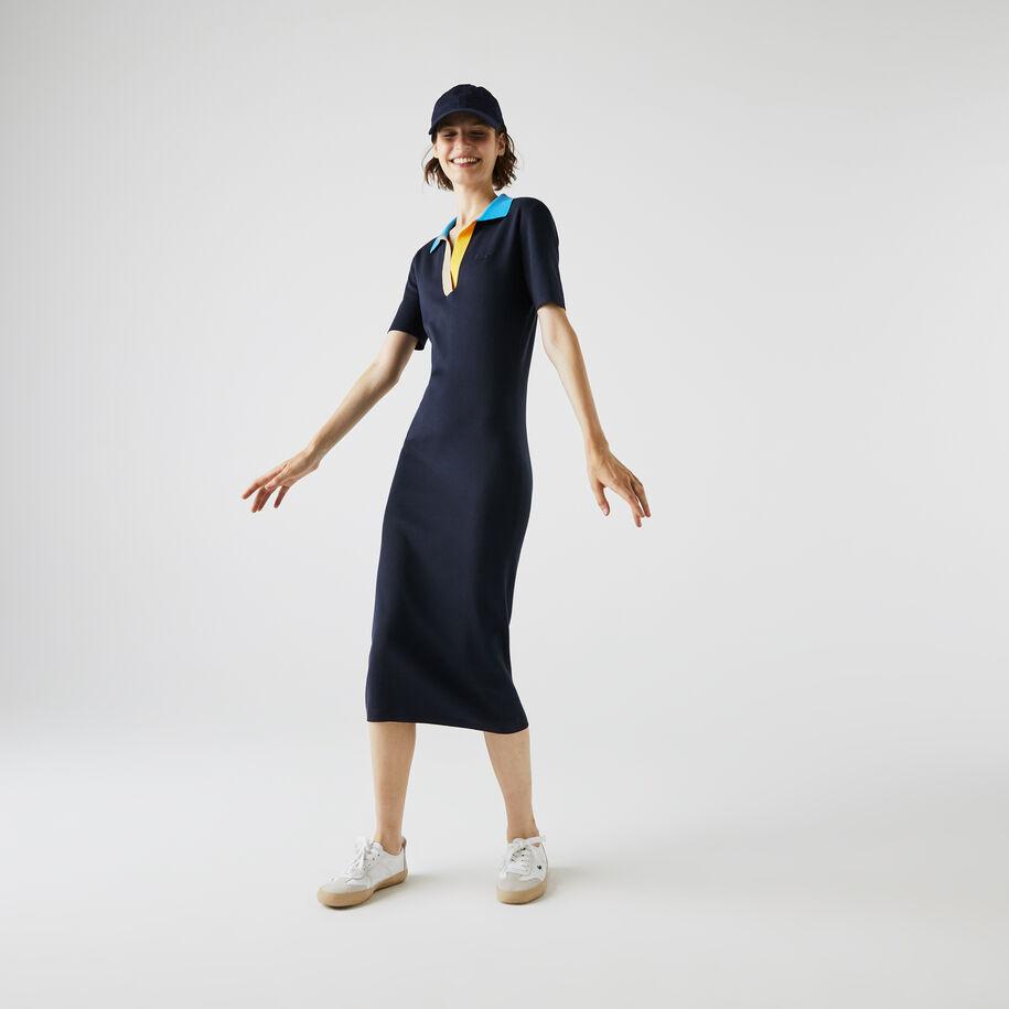 فستان طويل بشكل قميص من القطن المحبوك ثنائي اللون بياقة بولو للنساء