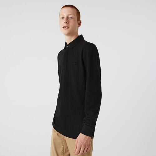 قميص بولو بأكمام طويلة من بيكيه القطن المرن بقصة عادية من مجموعة Lacoste Paris للرجال