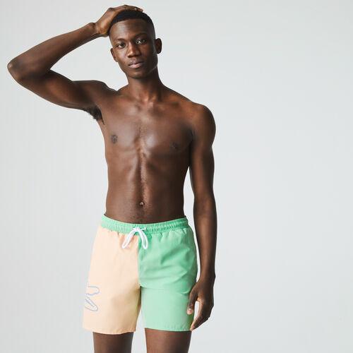 Men's Bicolor Crocodile Print Swimming Trunks