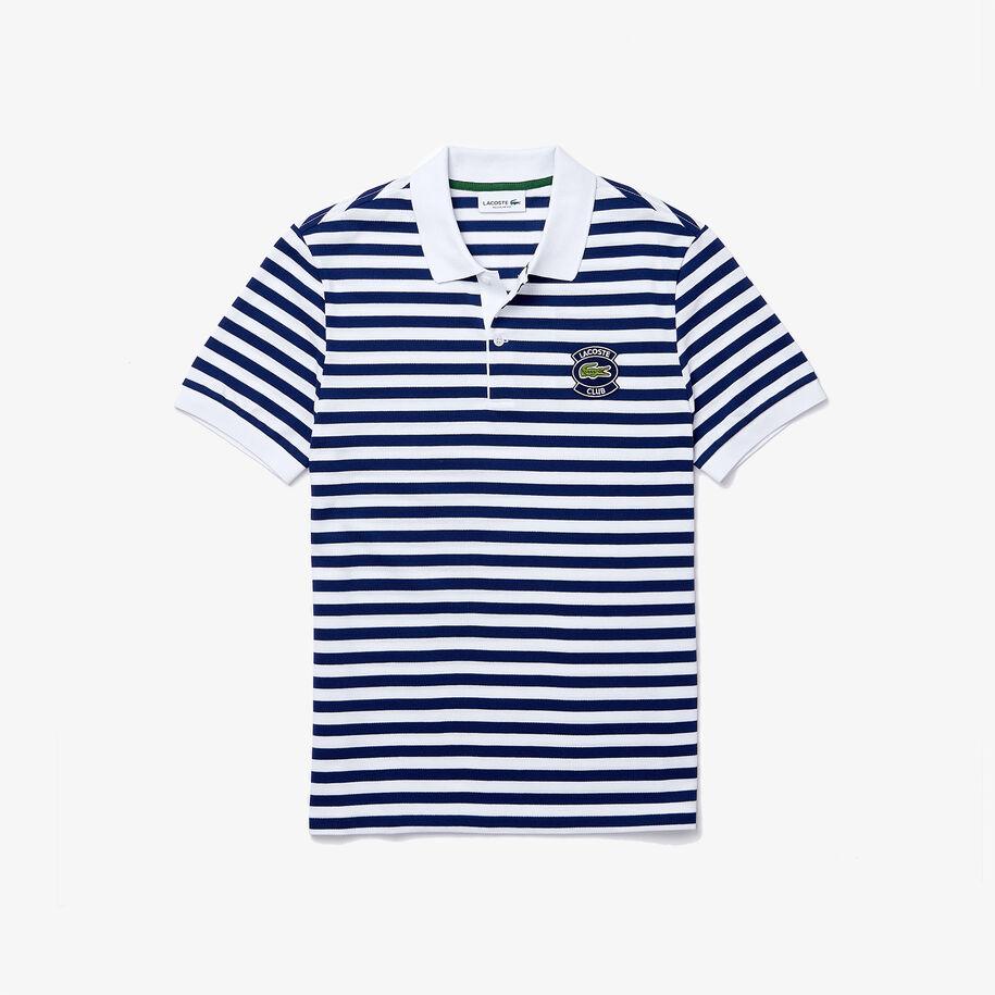 قميص بولو مقلم من بيكيه القطن للرجال بقصة عادية وشارة