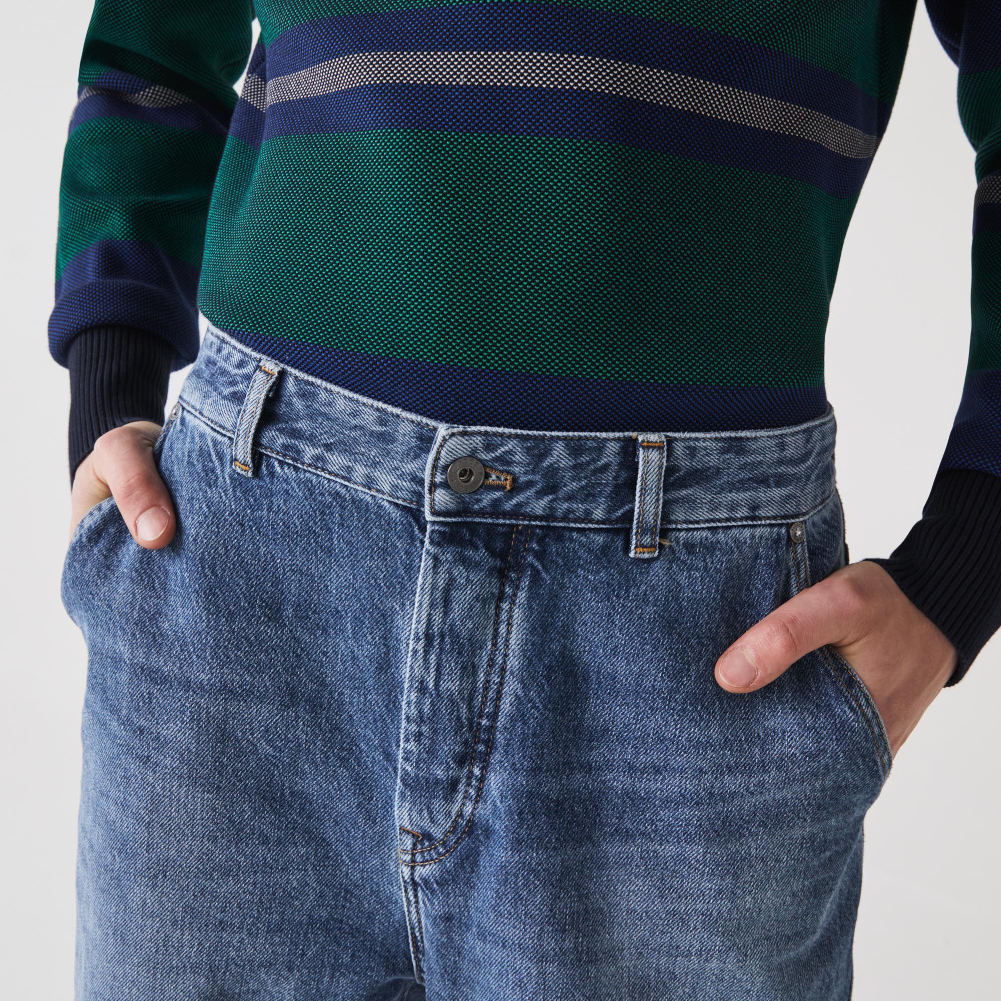 بنطال جينز دنيم قطني للرجال بقصة فضفاضة وخمسة جيوب
