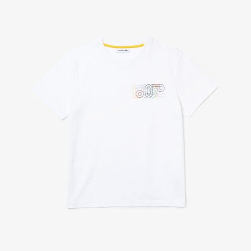 Women's Crew Neck Embroidered Multicolor Lettering Cotton T-shirt