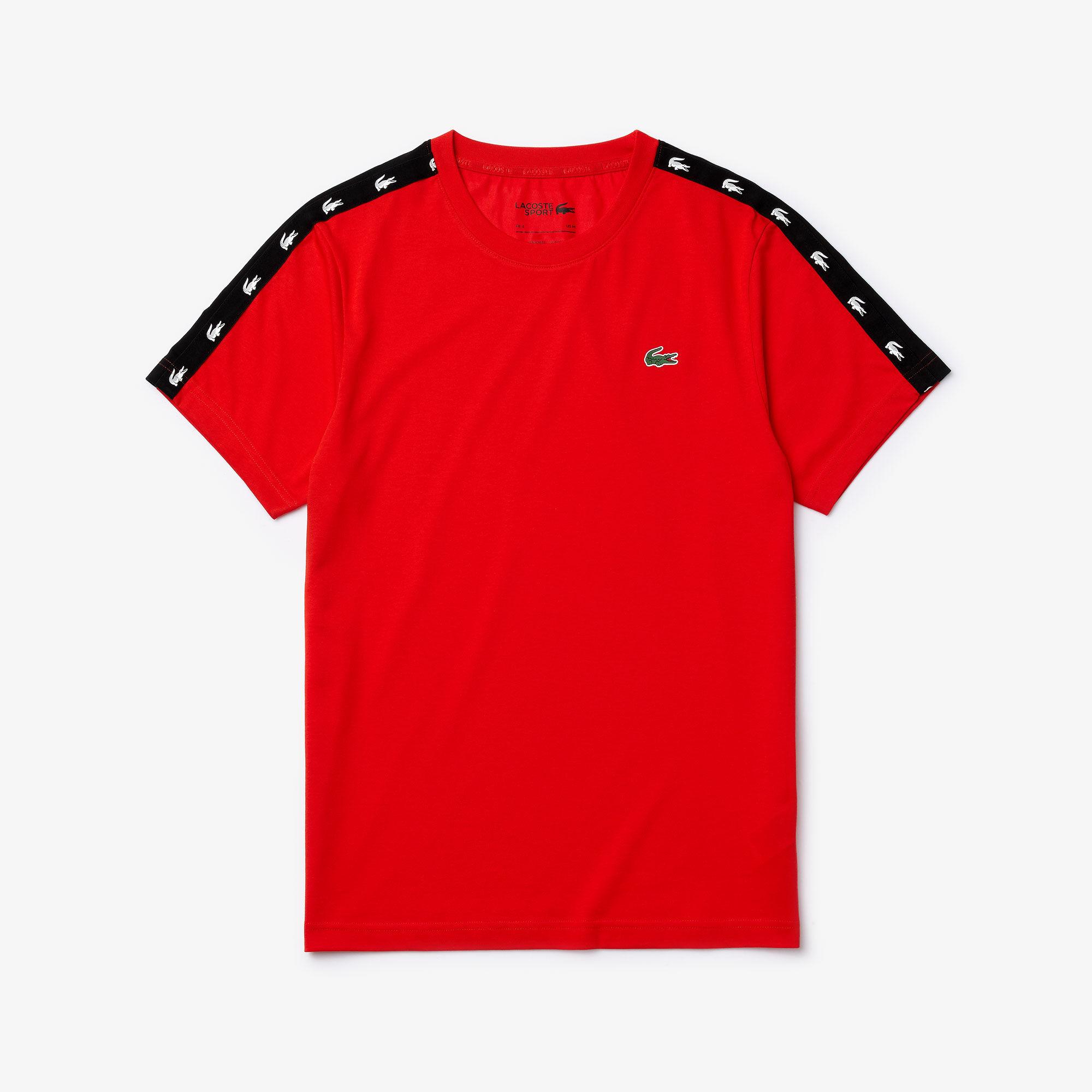 Men's Lacoste SPORT Crocodile Striped Breathable Piqué T-shirt