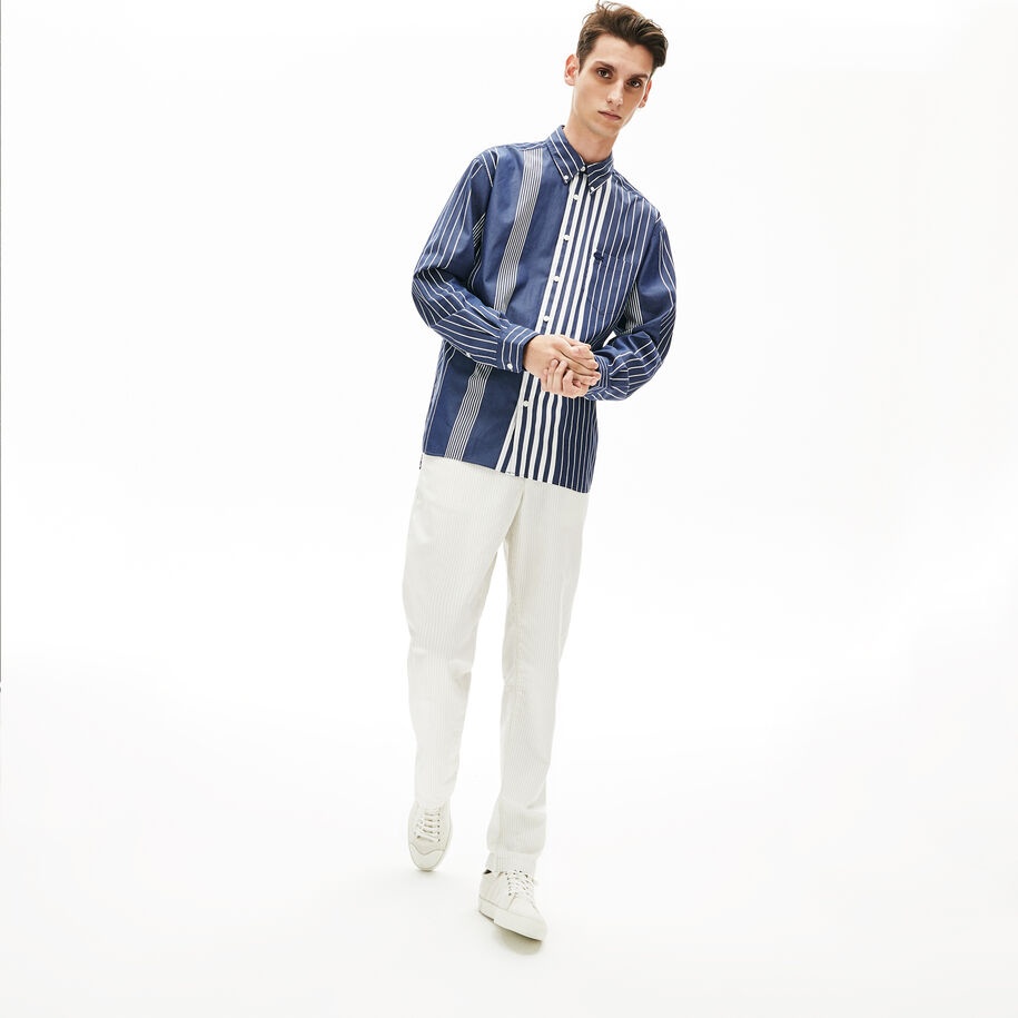 Men's Mismatched Striped Relaxed Fit Cotton Shirt