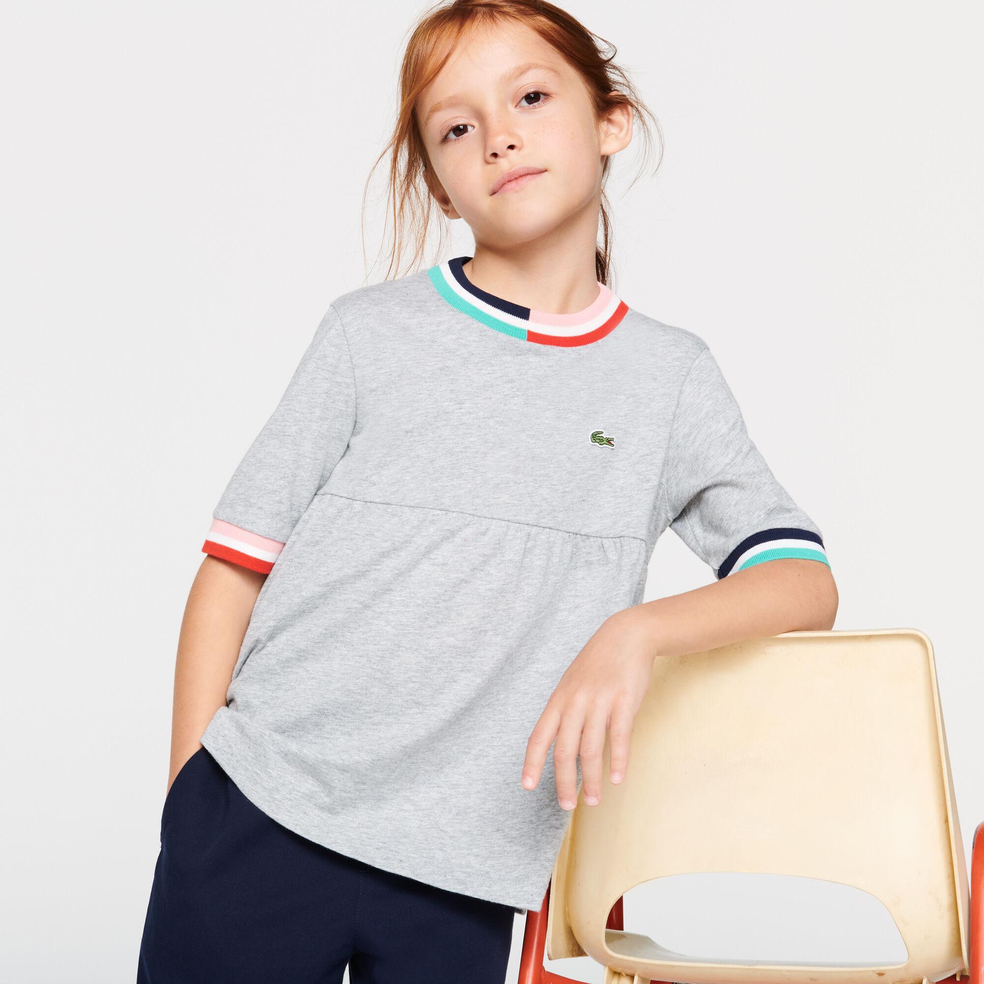 Girls' Striped Accents Flounced Cotton T-shirt