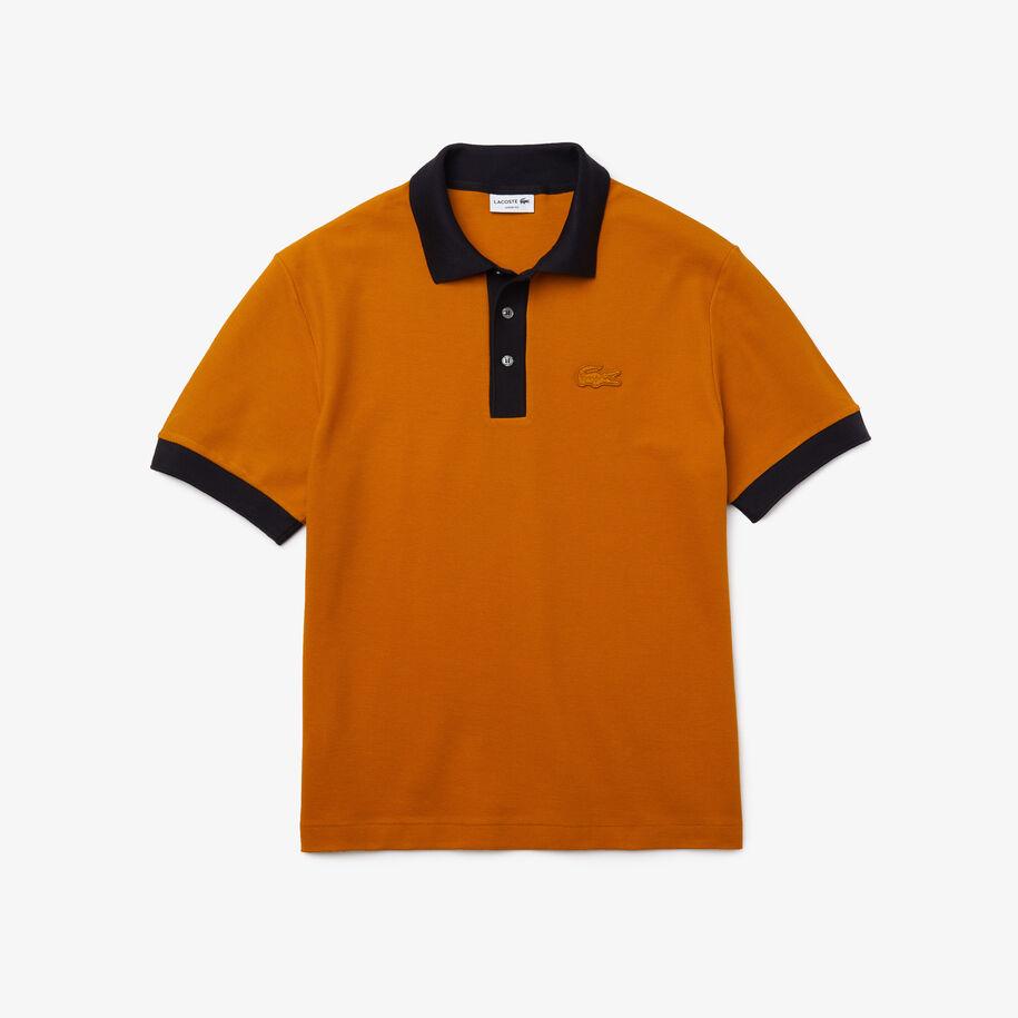 قميص بولو من قطن البيكيه متعرج الملمس بقصة فضفاضة للرجال