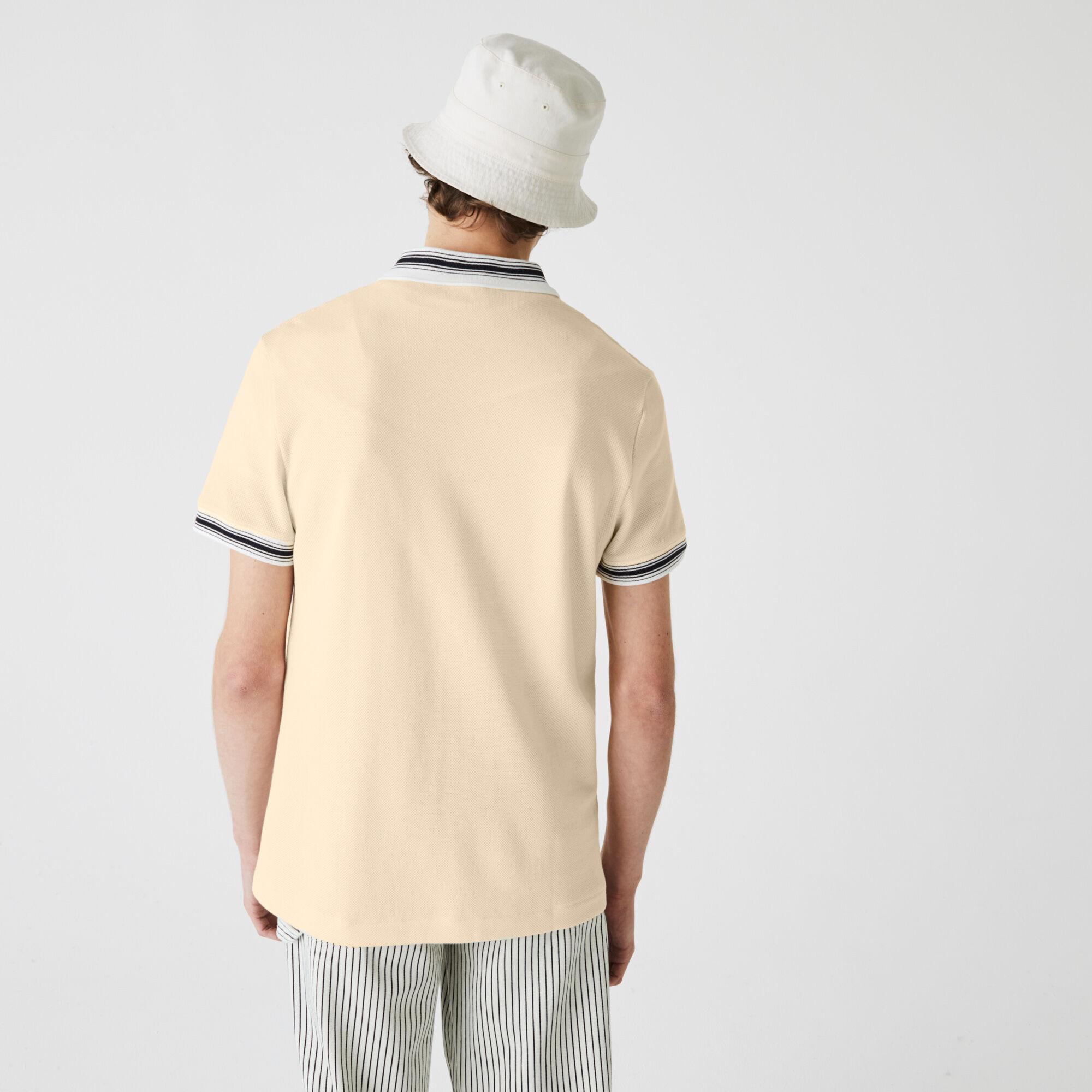 قميص بولو مخطط للرجال قصة عادية وفتحة رقبة بسحاب