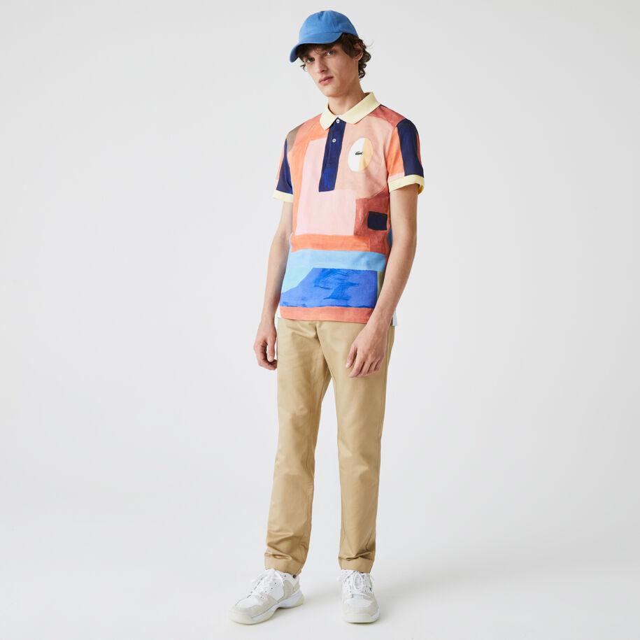 قميص بولو من بيكيه القطن للرجال قصة عادية