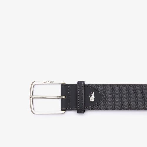 Men's Lacoste Engraved Buckle Reversible Piqué Leather Belt