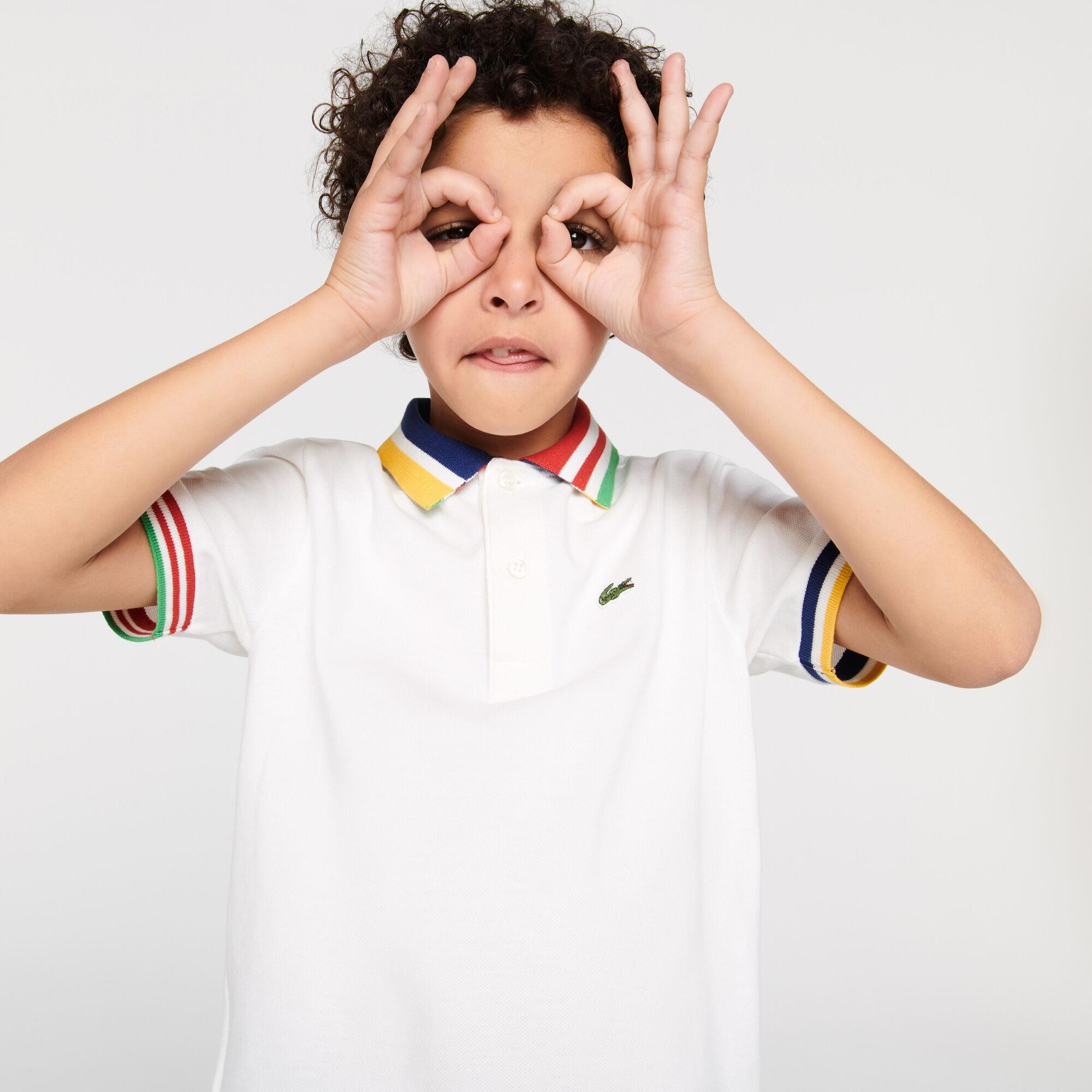 قميص بولو بيكيه القطن للأولاد بأجزاء مقلمة