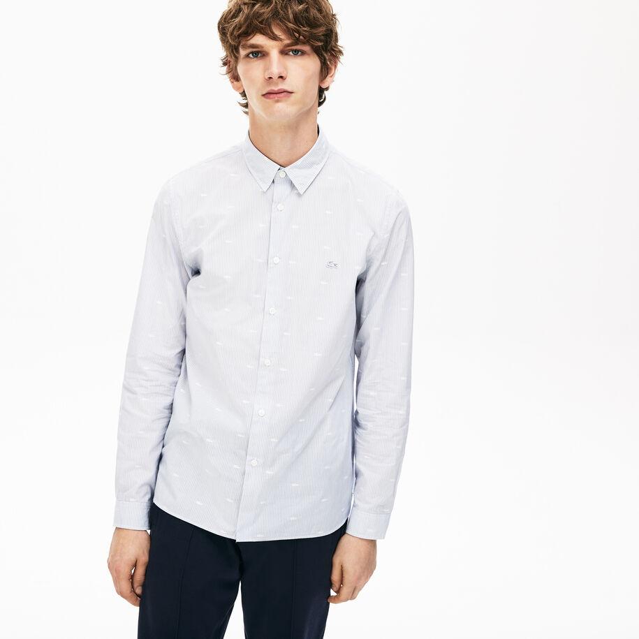 قميص بوبلين بطبعة التمساح للرجال