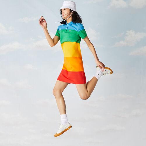 فستان بولو مقلم للنساء من بيكيه القطن مجموعة Polaroid