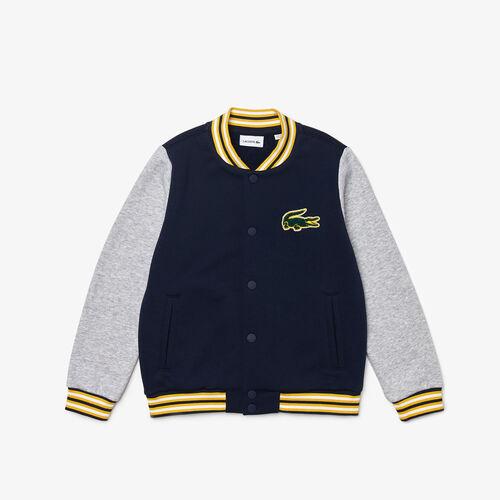 Kids' Crocodile Patch Bicolor Fleece Teddy Jacket