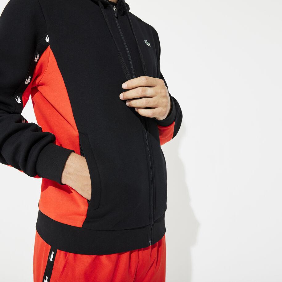 قميص ثقيل للرجال مصنوع من الصوف بلونين ومزود بغطاء رأس من مجموعة Lacoste SPORT