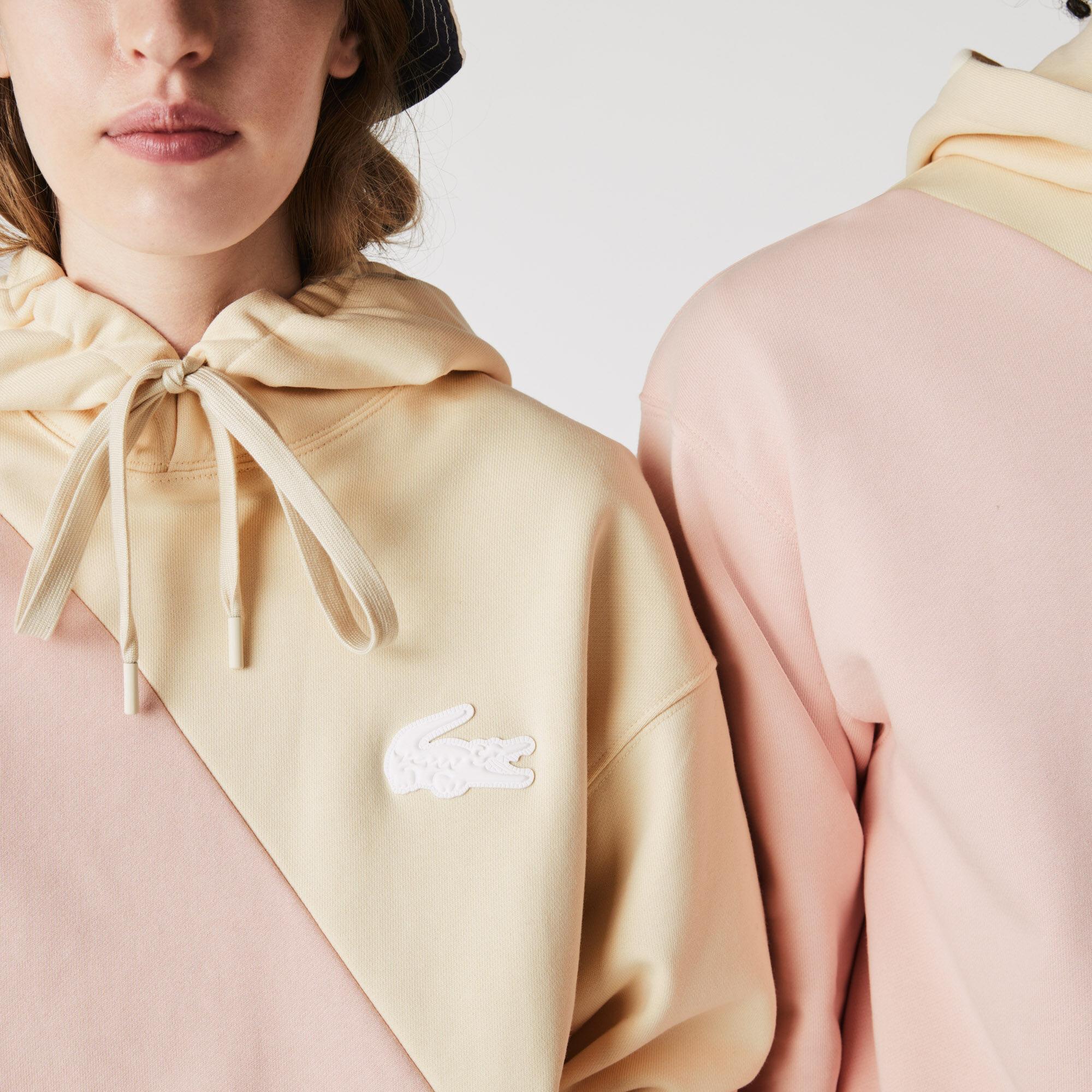 سويت شيرت صوف مزدوج اللون بغطاء رأس وقصة فضفاضة للجنسين مجموعة Lacoste LIVE