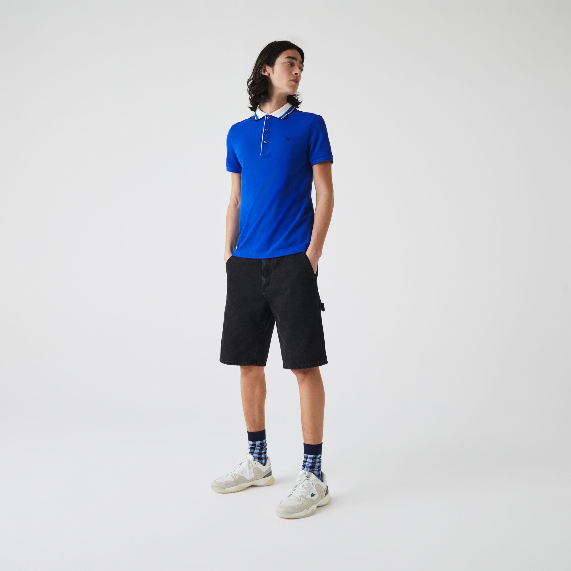 قميص بولو من بيكيه القطن للرجال بياقة مقلمة وقصة ضيقة
