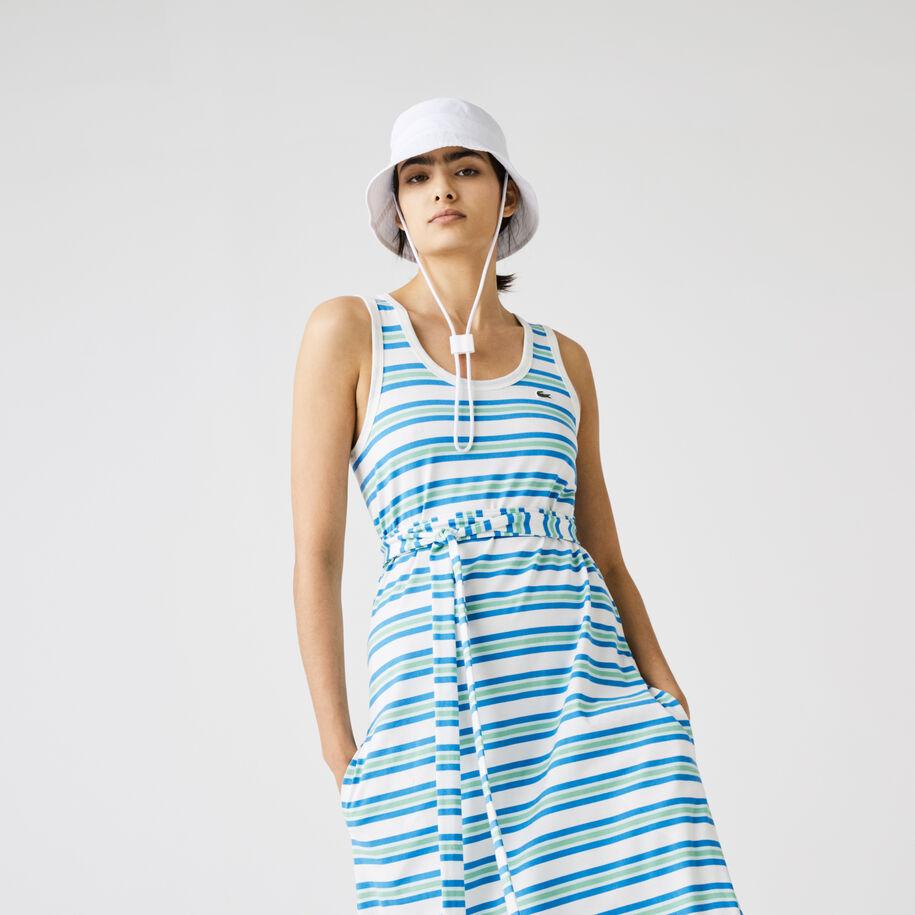 فستان حمالات قطني للنساء طويل مقلم