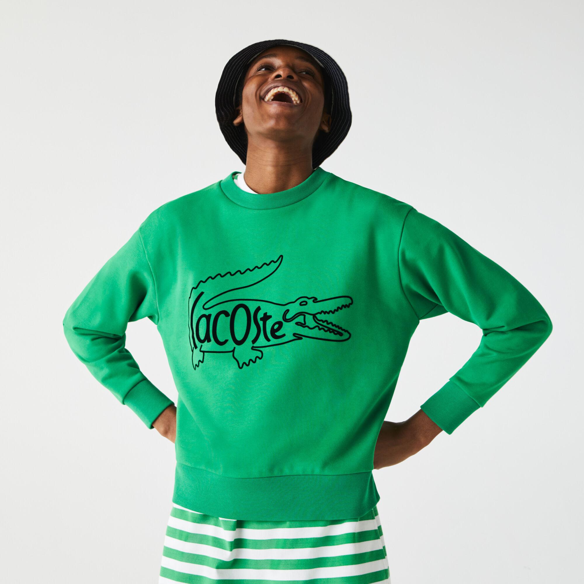 Women's Crew Neck Crocodile Print Cotton Fleece Sweatshirt