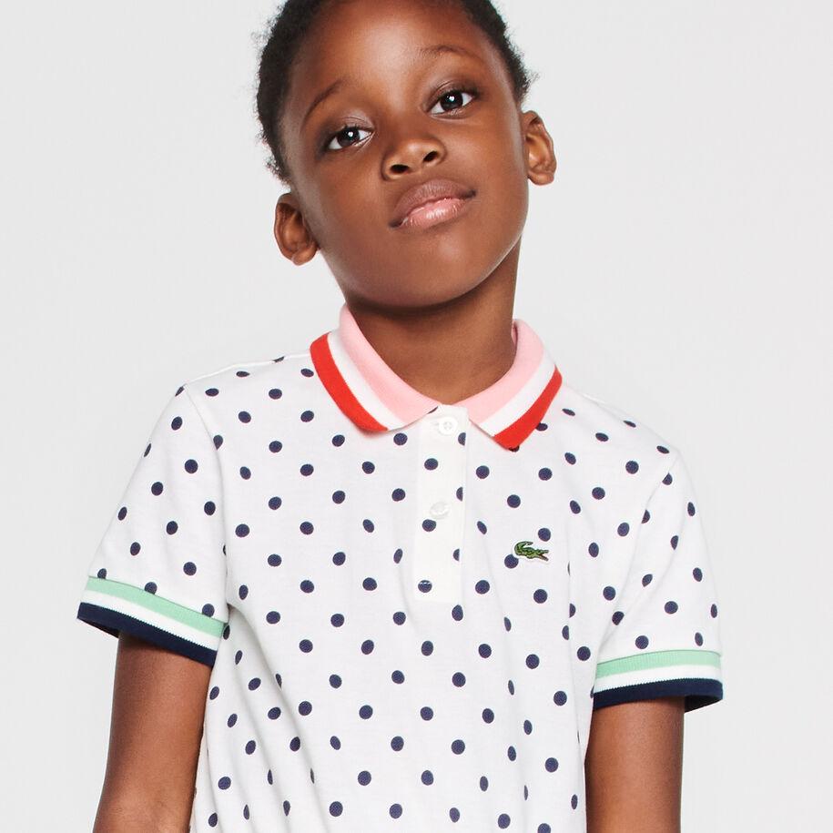 Girls' Polka Dot Cotton Piqué Polo Dress
