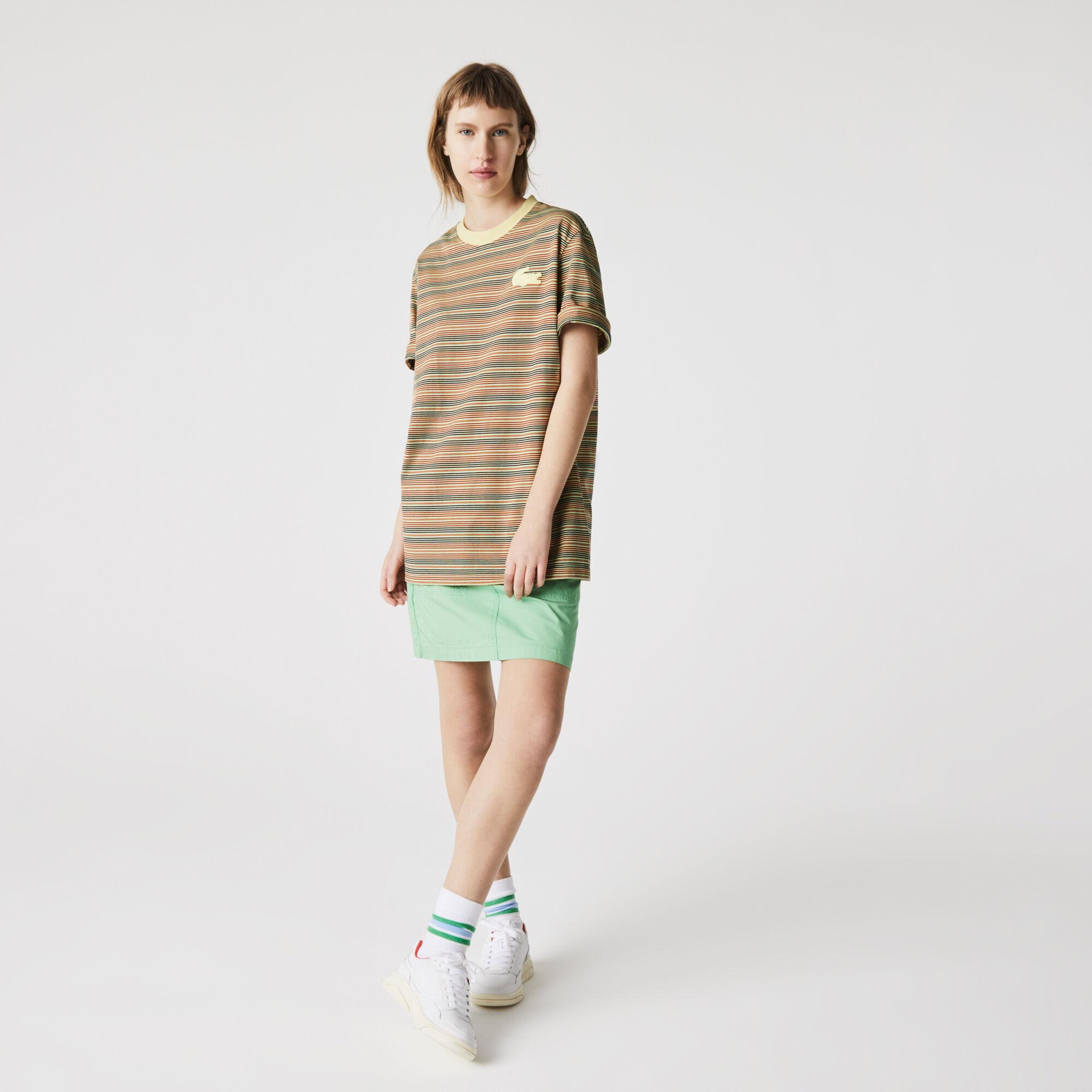 Unisex Lacoste LIVE Loose Fit Crew Neck Striped Cotton T-shirt