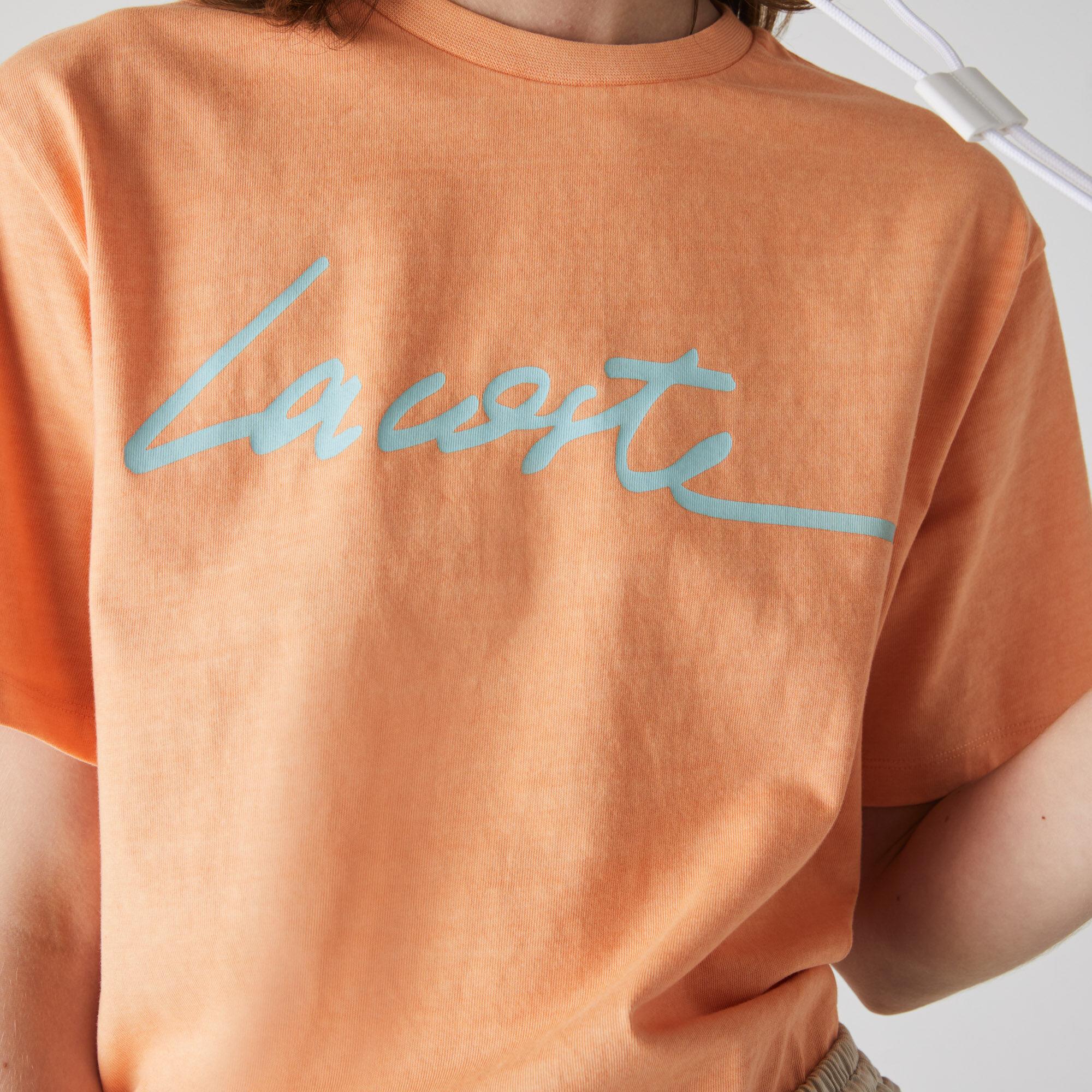 Women's Crew Neck Print Lettering Cotton T-shirt