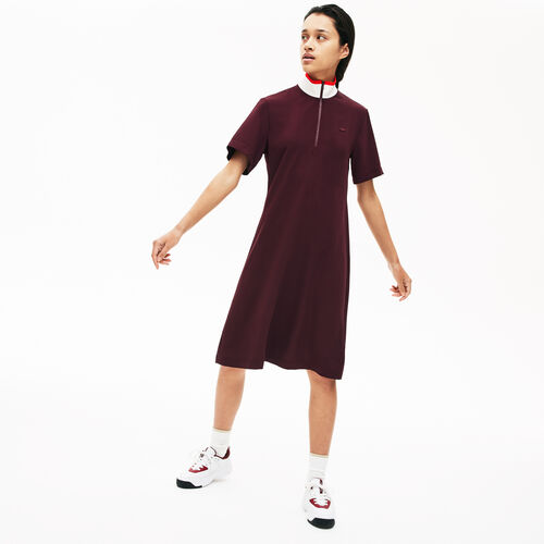 Women's Full Zip Flowy Polo Dress