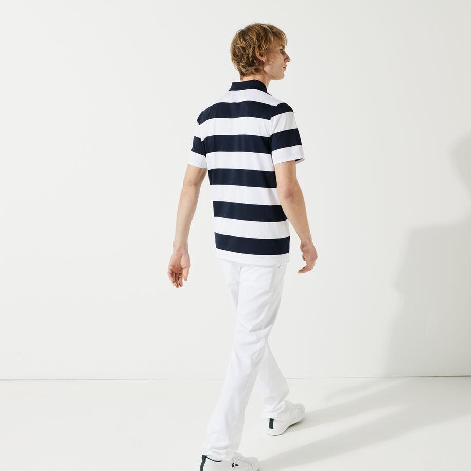 قميص بولو للجولف مرن مسامي مقلم للرجال مجموعة Lacoste SPORT