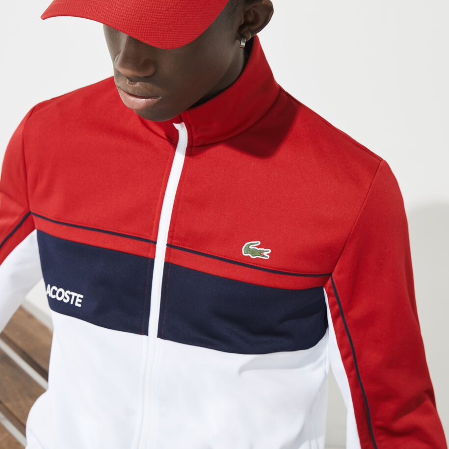 Men's Lacoste SPORT Resistant Colourblock Piqué Zip Sweatshirt