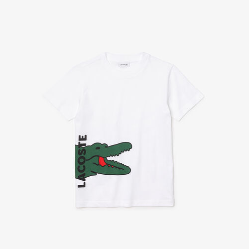 Kids' Crew Neck Printed Crocodile Cotton T-shirt