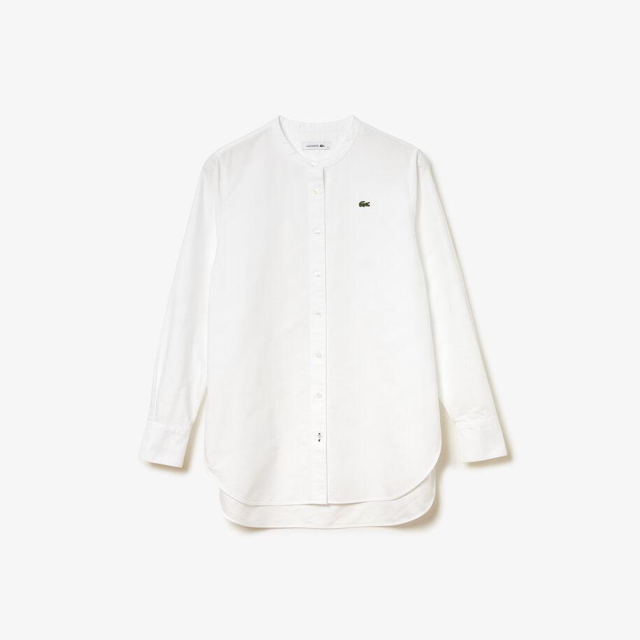 قميص قطن أكسفورد للنساء بقصة عادية وياقة ماندرين