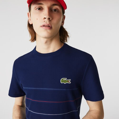 Men's Made In France Textured Striped Organic Cotton T-shirt