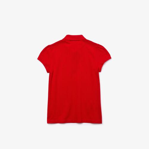 Girls' Lacoste Scalloped Collar Mini Piqué Polo Shirt