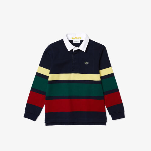 Boys' Lacoste Striped Cotton Rugby Regular Fit Polo