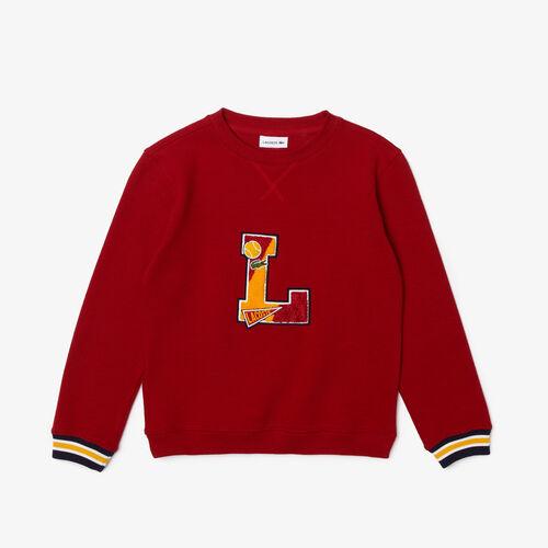 Boys' Crew Neck L Badge Cotton Sweater