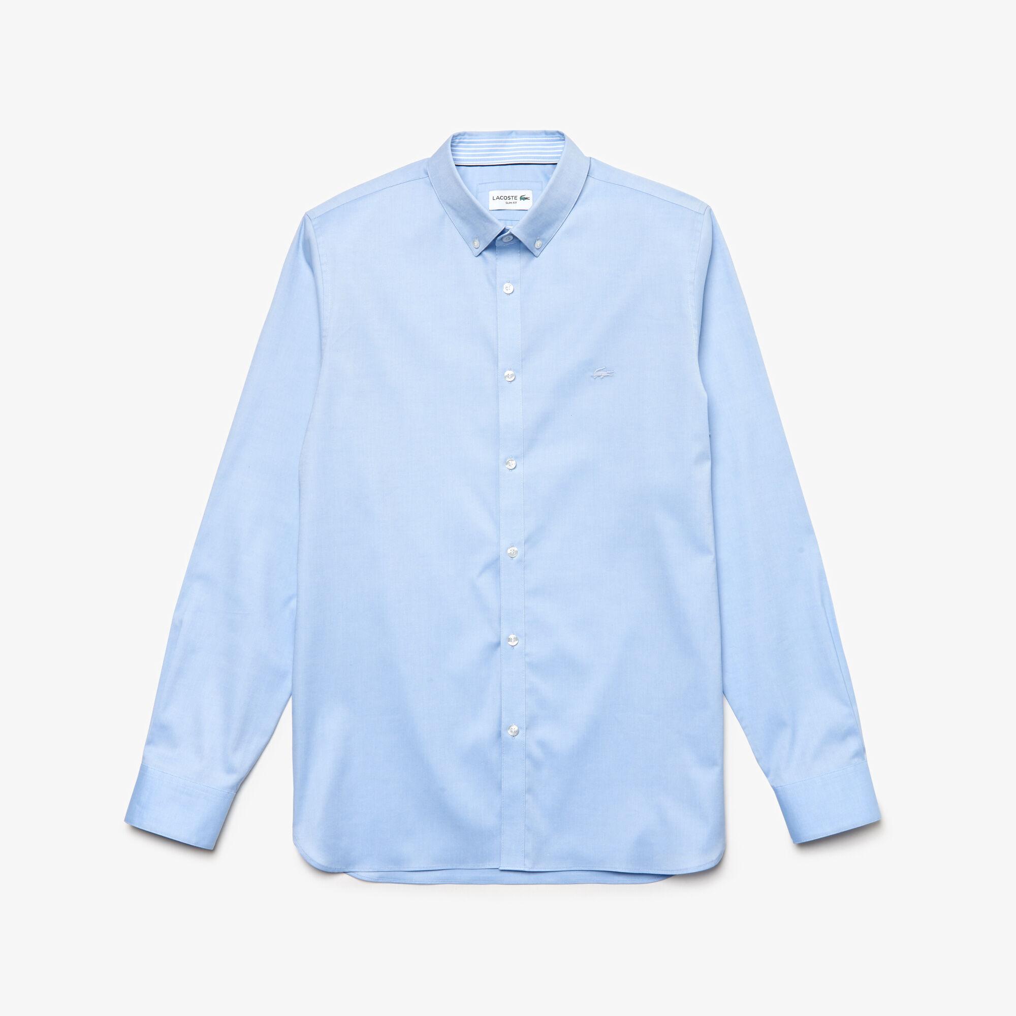 قميص للرجال ذو قصة ضيقة من القطن المرن