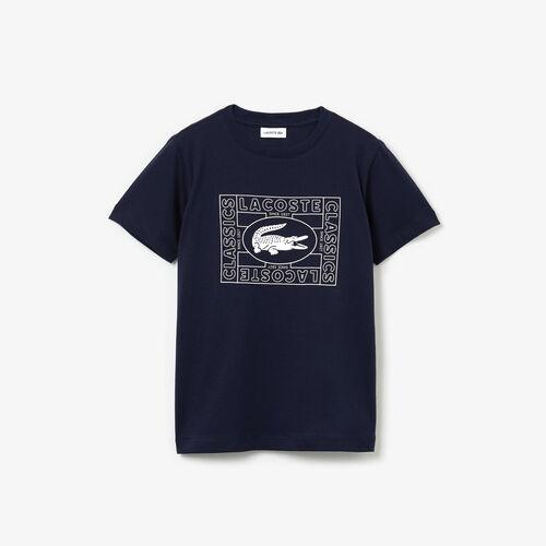 Boys' Crocodile Print Cotton Jersey T-shirt