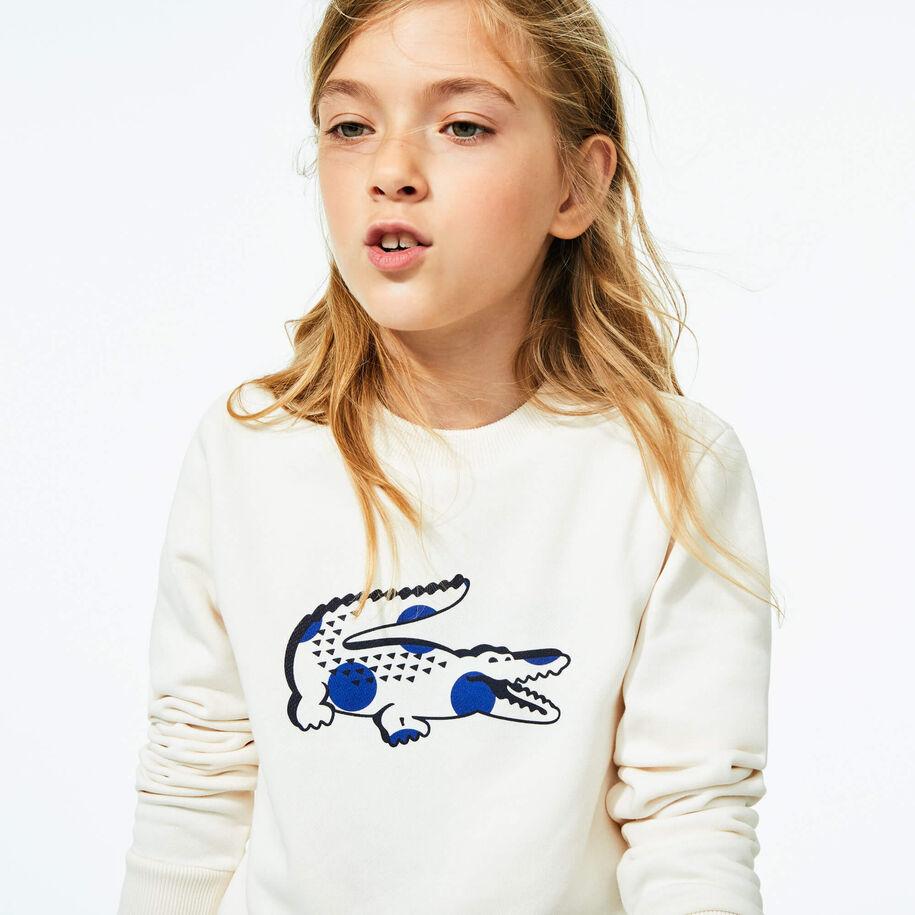 قميص ثقيل من الصوف مزدان بطبعة التمساح للبنات