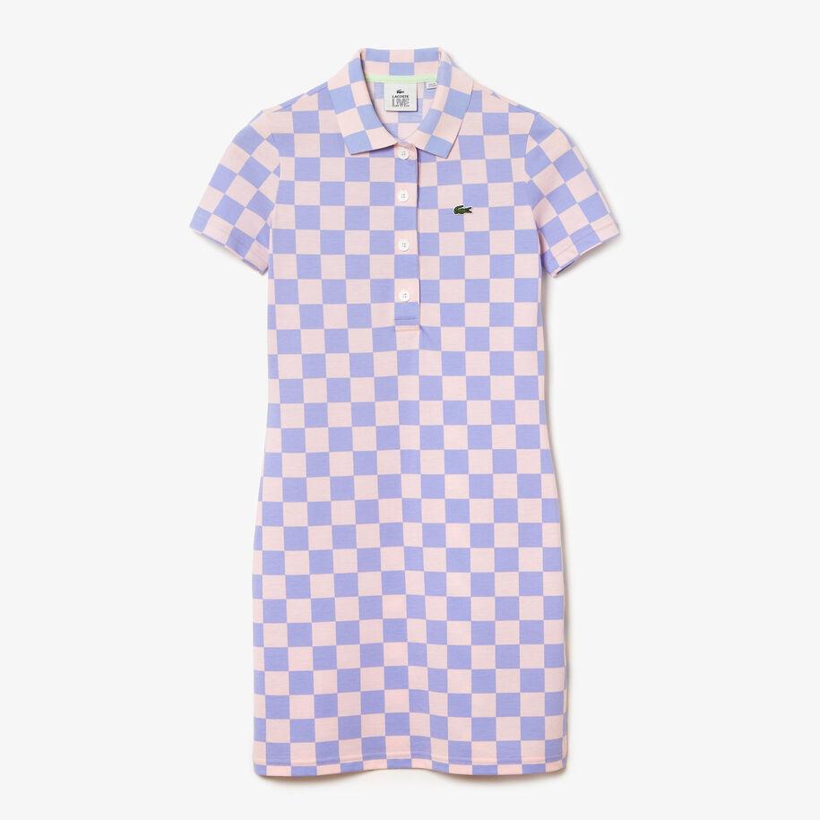 Women's Lacoste LIVE Checkerboard Pattern Cotton Piqué Polo Dress