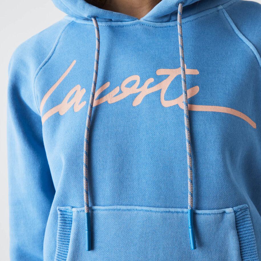 Women's Lettered Hooded Cotton Fleece Sweatshirt