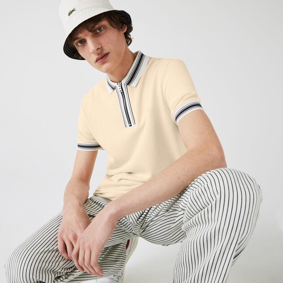 Men's Lacoste Regular Fit Striped Zip Neck Polo Shirt