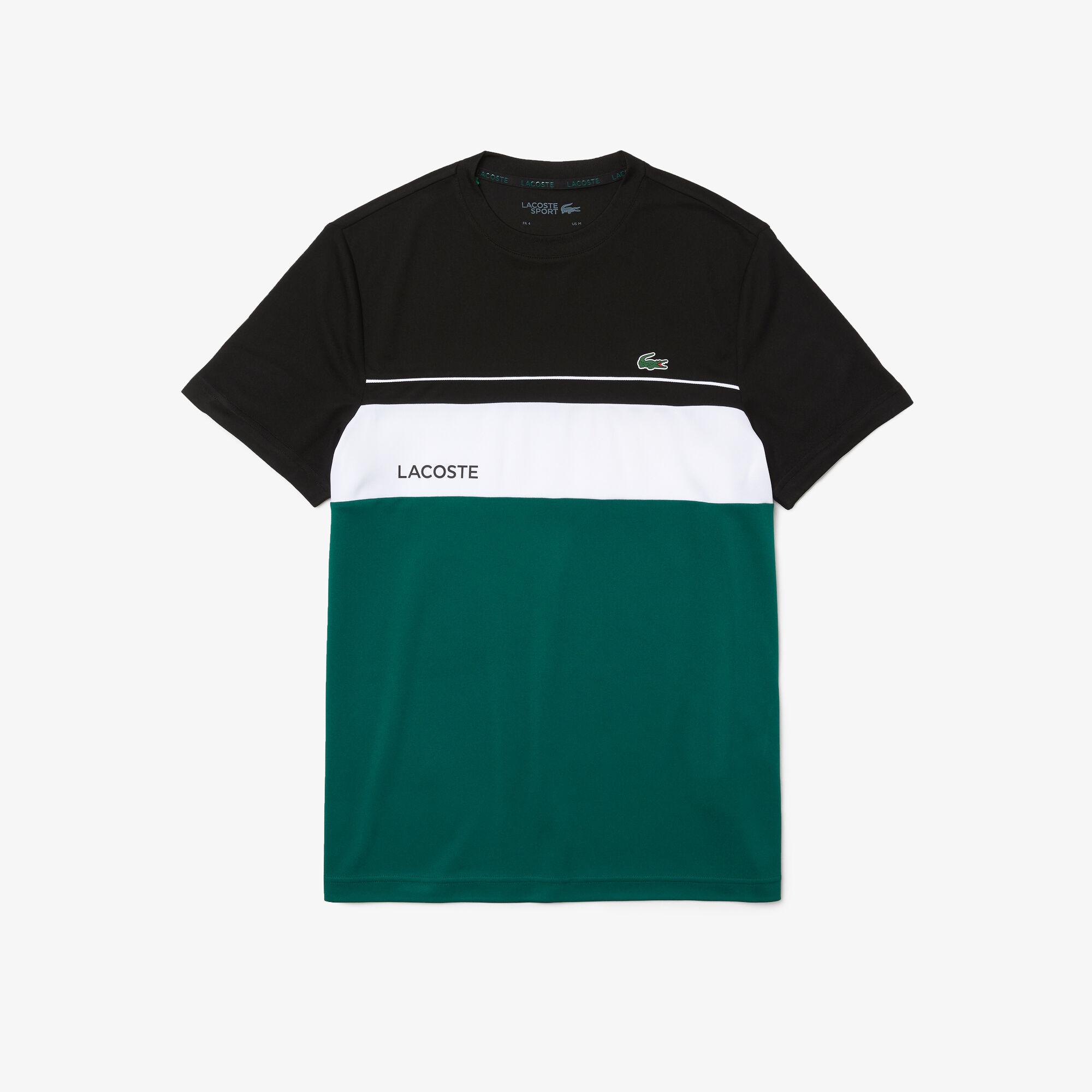 Men's Lacoste SPORT Crew Neck Breathable Colourblock T-shirt
