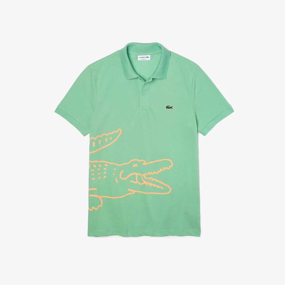 قميص بولو من بيكيه القطن للرجال قصة عادية وطباعة التمساح
