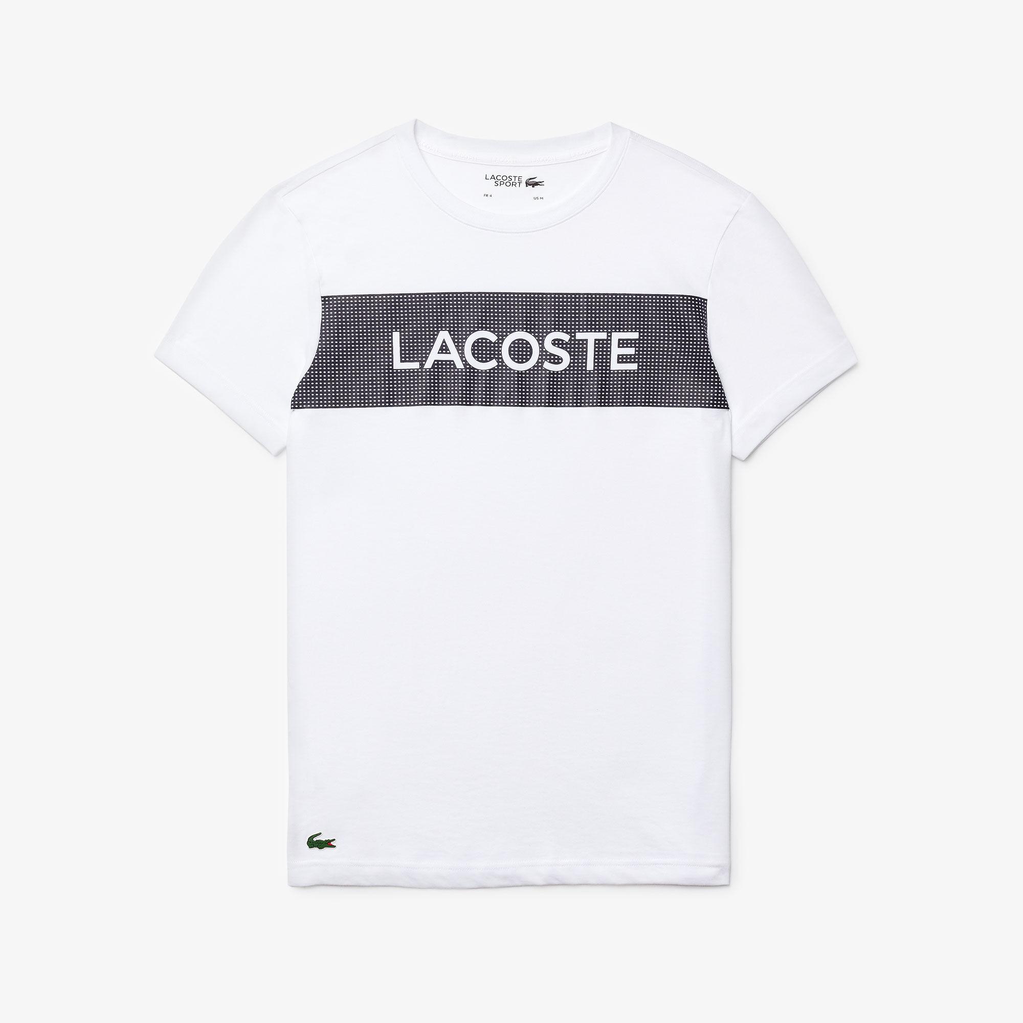 قميص تي-شيرت للرجال من مجموعة Lacoste SPORT مزدان بطبعات أنيقة