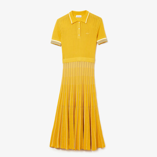 Women's Cotton Polo Dress With Pleated Skirt