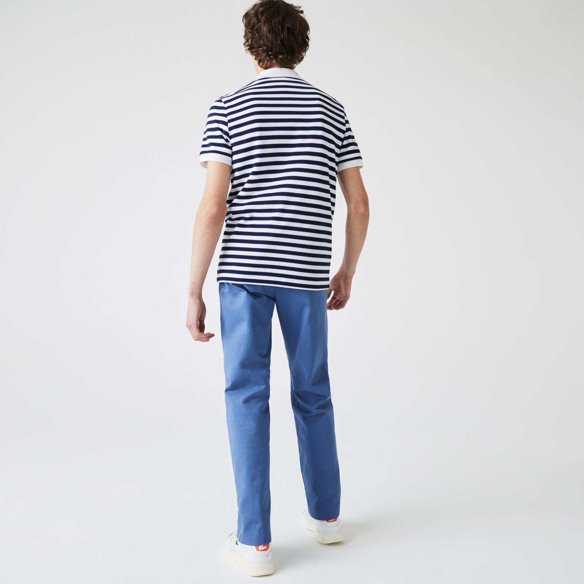 Men's Lacoste Badge Regular Fit Striped Cotton Piqué Polo