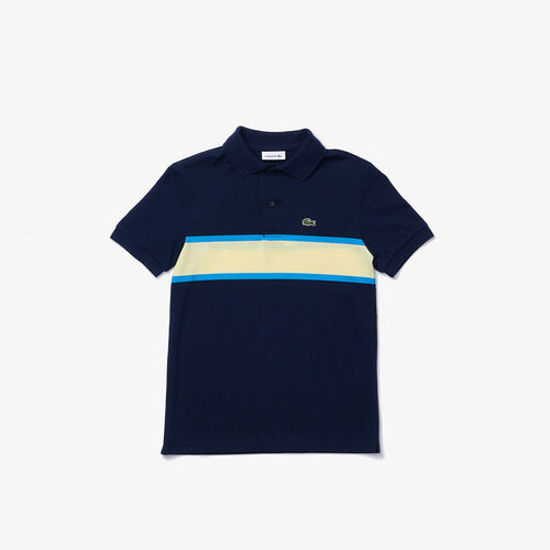Boys' Lacoste Contrast Striped Cotton Piqué Polo