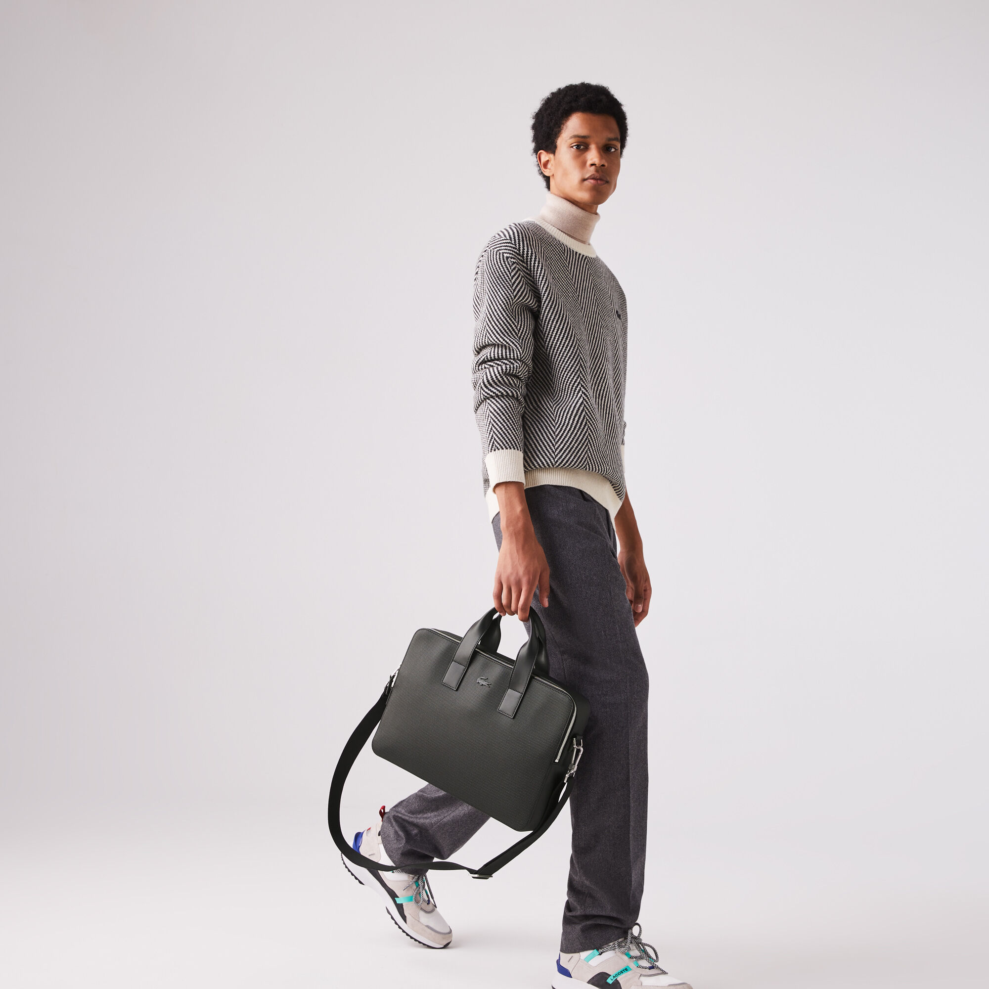 Men's Chantaco Matte Piqué Leather Computer Bag